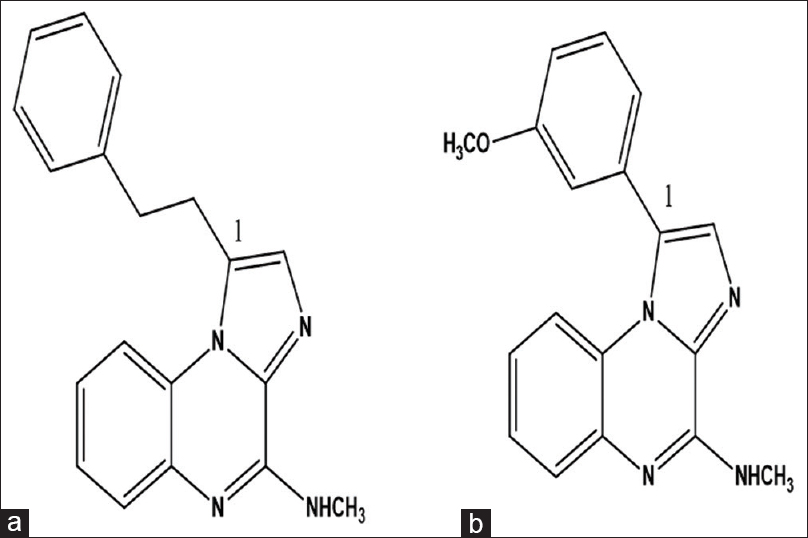 Chemical structures of imiqualines lead compounds: (a) EAPB0203 and (b) EAPB0503