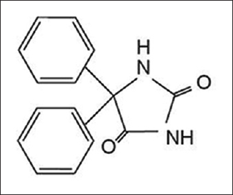 Chemical structure of phenytoin