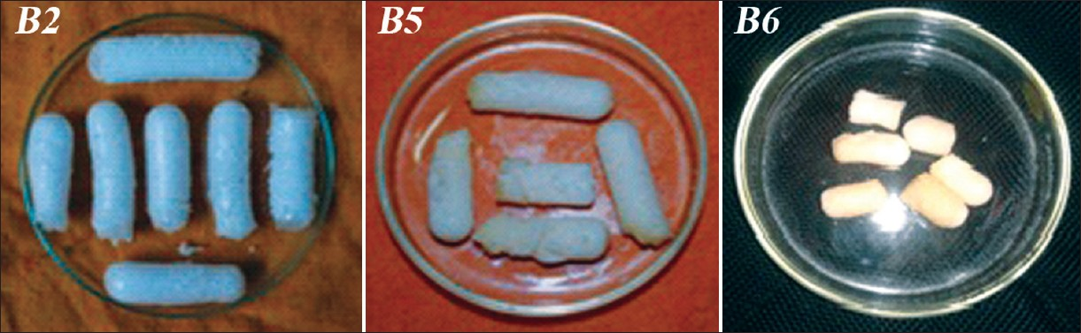 Photograph of petridishes (inner diameter=7.5 cm) containing dried SPH (B2) and SPHCs (B5, B6)
